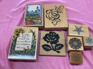 RUBBER STAMPS FlOWERS STAR AND SNOW FlAKE