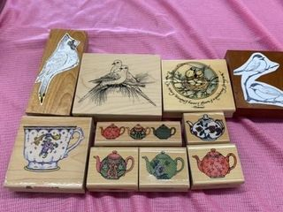 RUBBER STAMPS OF BIRDS AND TEAPOTS AND CUP