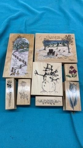 WINTER AND FlOWERS RUBBER STAMPS