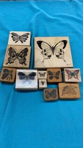 11 BUTTERFlY RUBBER STAMPS