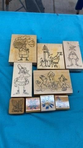 9 RUBBER STAMPS