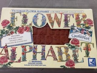 FlOWER AlPHABET RUBBER STAMP SET