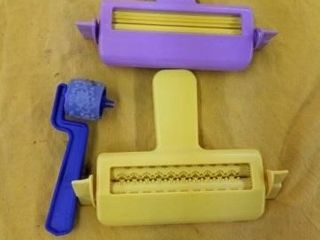 2 RUBBER ROllER STAMPS AND A SMAll STAMP