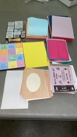 SET OF RUBBER STAMPS AND PADS AND PAPER