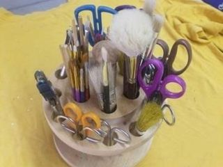 TRAY FUll OF PAINT BRUSHES  SCISSORS  PAPER