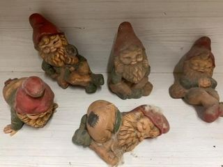 5 CERAMIC GNOMES   EACH ABOUT 8IJ