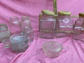 KERR JARS  ASHTRAYS   CANNISTER SET AND MISC