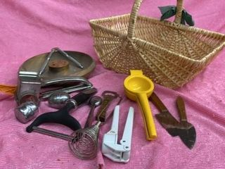 WOODEN NUT CRACKER BOWl  UTENSIlS  VINTAGE GRATER