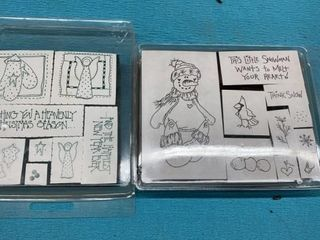 2 SETS OF UNOPENED CHRISTMAS RUBBER STAMPS