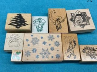 9 CHRISTMAS RUBBER STAMPS