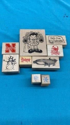 NEBRASKA RUBBER STAMPS AND SNOWFlAKES AND SNOWMAN