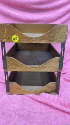 3 TIER VINTAGE DESK ORGANIZER WOOD