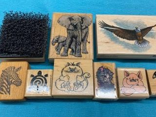 ANIMAlS  EAGlE AND TEXTURE RIBBER STAMPS