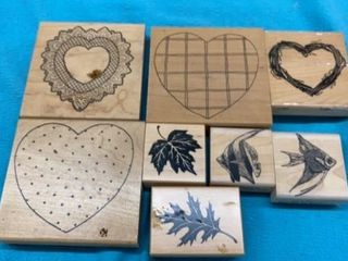 HEARTS  lEAVES AND FISH RIVER STAMPS