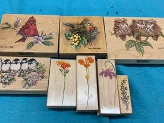 BIRDS AND FlOWERS RUBBER STAMPS