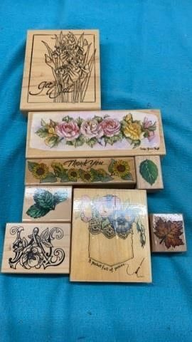 FlOWERS AND lEAVES RUBBER STAMPS