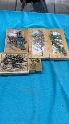 SCENERY AND lEAF RUBBER STAMPS