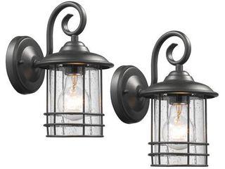 Chloe Transitional 1 light Textured Outdoor Wall lanterns   Set of 2