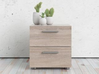 Porch  amp  Den Angus Foiled 2 Drawer Nightstand