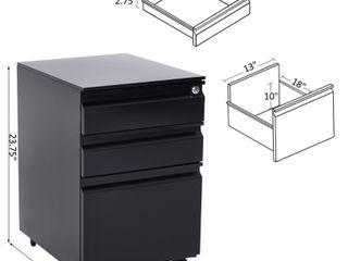HomCom 3 Drawer Mobile Filing Cabinet
