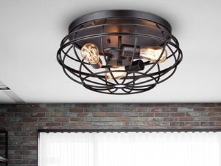 Cecilia Industrial Iron Cage Flush Mount Chandelier