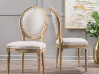 Phinnaeus French Country Fabric Dining Chairs by Christopher Knight Home   Set of 2