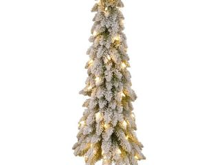 National Tree Snowy Downswept Tree with Metal Plate  48 Inch  Pre Strung with 100 Clear lights