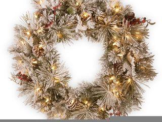 Snowy Bedford Pine Wreath w  lED lights