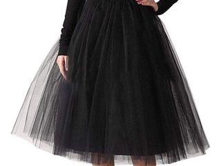Women s Vintage Mesh A line Knee length Midi Tutu Tulle Skirt   Small
