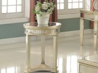 Best Master Furniture Silver Mirror Round End Table   DAMAGED