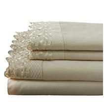 Four Piece Embroidered Grand lace Queen Sheet Set