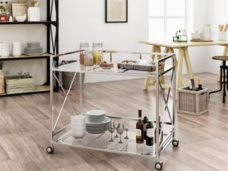 Iron Silver Ignatius Industrial Glass Bar Cart