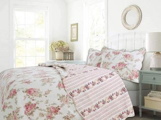 Cozy line Patricia Floral Reversible Cotton Quilt Set   King