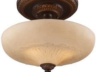 3 light Semi Flush in Golden Bronze