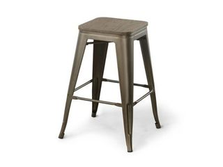 Two Carson Metal Square Barstools