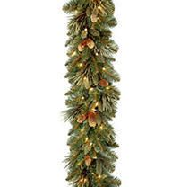 9 ft  Carolina Pine Garland with Battery Operated lED lights