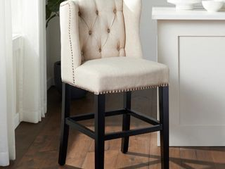 Abbyson Sierra Cream linen Wingback Chair