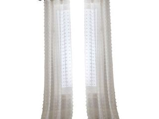 Payton Grommet Sheer Curtain Panel Pair  White  37 x 84