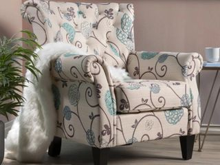 Merritt Floral Fabric Tufted Club Chair