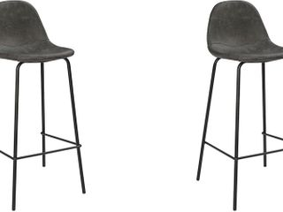 Pair of Golden Frame Bar Stools with Grey Fabric
