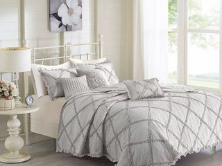 Madison Park Wendy Grey Cotton Percale Coverlet 6 Piece Set  Full Queen  Retail 113 49