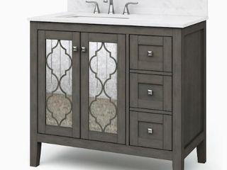 Allen   Roth Everdene 36 in Grey Single Sink Bathroom Vanity with Carrera White Engineered Stone Top Retail   499 00