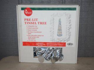 3 Foot Pre lit Tinsel Tree