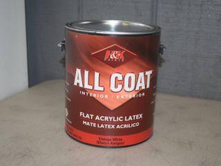 Gallon H K Paints All Coat Flat Acrylic latex Paint   Interior Exterior   Vintage White