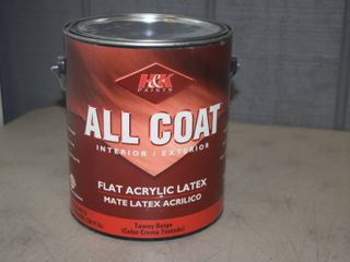 Gallon H K Paints All Coat Flat Acrylic latex Paint   Interior Exterior   Tawny Beige