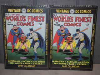 2 Vintage DC Comics 2021 Calendars