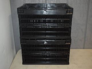 2 Collapsable Stackable Storage Crates 16  x 12  x 9