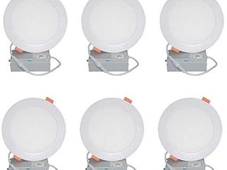 luckywin 15W 6inch Ultra Thin lED Recessed Ceiling light with Junction Box low Profile Dimmable Wafer Downlight