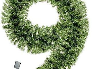 MRNIU Green Christmas Garland with lights  70 lED 9 Foot by 15 7 Inch Battery Powered Waterproof String light