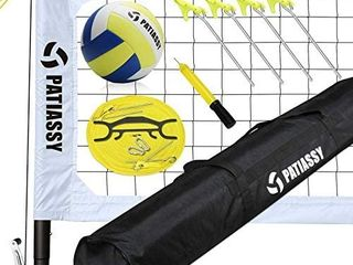 Patiassy Professional Portable Volleyball Set   Includes Volleyball Net System with Height Adjustable Aluminum Poles  Winch System for Anti Sag Net  Volleyball and Carrying Bag